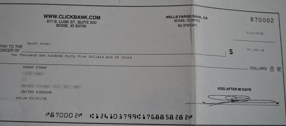 first clickbank cheque